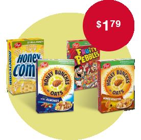 Post Honey Bunches of Oats 14.5 oz., Pebbles 11 oz., Honey-Comb 12.5 oz. or Golden Crisp Cereal 14.75 oz. selected var at $1.79.