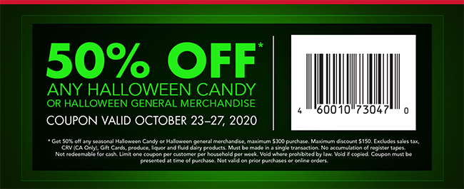50% OFF All Halloween Candy & Non Food Items