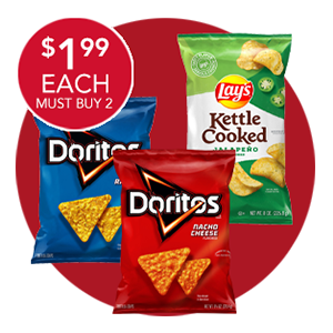 DORITOS 9.25-9.75 OZ. OR LAY'S KETTLE COOKED CHIPS 8 OZ.
