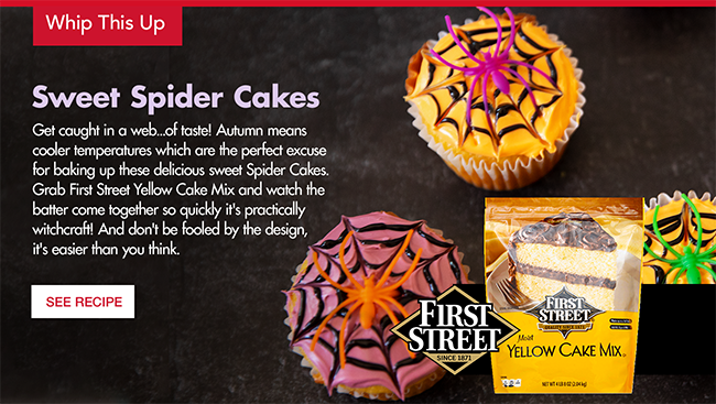Sweet Spider Cakes - Recipe with First Street Yellow Cake Mix