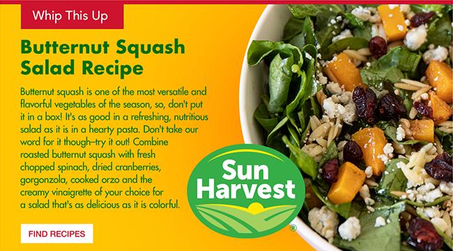 Sun Harvest - Butternut Squash Salad Receipe